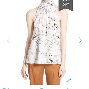Diane Von Furstenburg floral halter top with bow